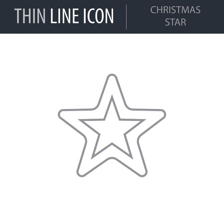 Symbol of Christmas Star. Thin line Icon of Merry Christmas. Stroke Pictogram Graphic for Web Design. Quality Outline Vector Symbol Concept. Premium
