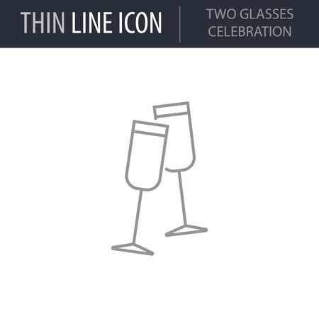 Symbol der Feier mit zwei Gläsern. Dünne Linie Symbol von Frohe Weihnachten Set. Strich-Piktogramm-Grafik für Webdesign. Qualität Umriss Vektor Symbol Konzept. Premium Mono Linear Schön Einfach Lakonisch Vektorgrafik