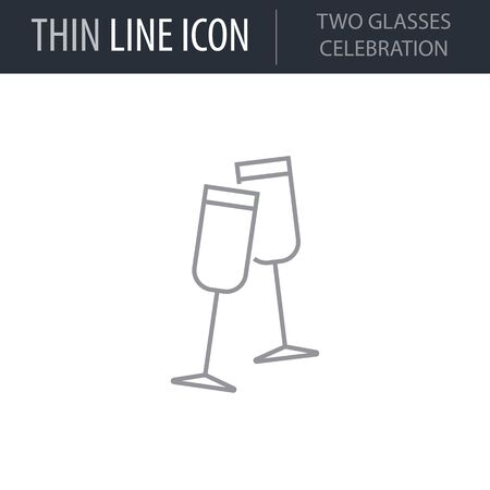 Symbol of Two Glasses Celebration. Thin line Icon of Merry Christmas Set. Stroke Pictogram Graphic for Web Design. Quality Outline Vector Symbol Concept. Premium Mono Linear Beautiful Plain Laconic
