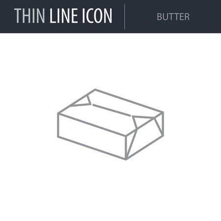 Symbol of Butter. Thin line Icon of Milk. Stroke Pictogram Graphic for Web Design. Quality Outline Vector Symbol Concept. Premium Mono Linear Beautiful Plain Laconic Logo