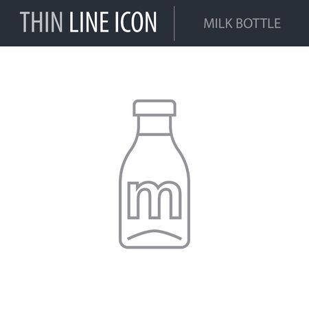 Symbol of Milk Bottle. Thin line Icon of Milk. Stroke Pictogram Graphic for Web Design. Quality Outline Vector Symbol Concept. Premium Mono Linear Beautiful Plain Laconic Logo Illustration
