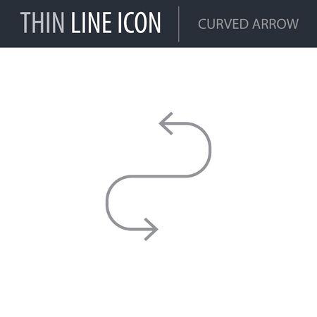 Symbol of Curved Arrow. Thin line Icon of Multimedia. Stroke Pictogram Graphic for Web Design. Quality Outline Vector Symbol Concept. Premium Mono Linear Beautiful Plain Laconic Logo Ilustrace