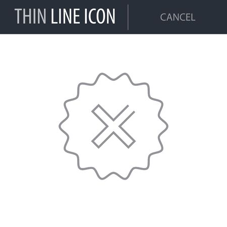 Symbol of Cancel. Thin line Icon of Multimedia. Stroke Pictogram Graphic for Web Design. Quality Outline Vector Symbol Concept. Premium Mono Linear Beautiful Plain Laconic Logo
