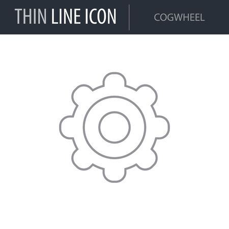 Symbol of Cogwheel. Thin line Icon of Multimedia. Stroke Pictogram Graphic for Web Design. Quality Outline Vector Symbol Concept. Premium Mono Linear Beautiful Plain Laconic Logo