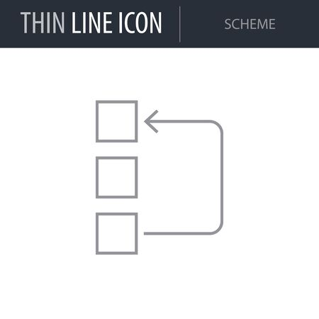Symbol of Scheme. Thin line Icon of Multimedia. Stroke Pictogram Graphic for Web Design. Quality Outline Vector Symbol Concept. Premium Mono Linear Beautiful Plain Laconic Logo