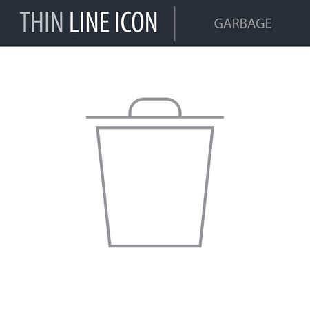Symbol of Garbage. Thin line Icon of Multimedia. Stroke Pictogram Graphic for Web Design. Quality Outline Vector Symbol Concept. Premium Mono Linear Beautiful Plain Laconic Logo Illusztráció