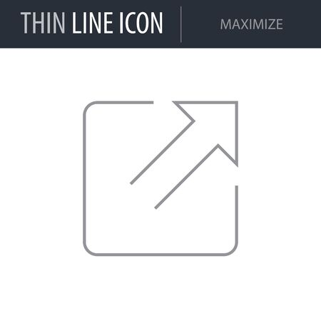 Symbol of Maximize. Thin line Icon of Multimedia. Stroke Pictogram Graphic for Web Design. Quality Outline Vector Symbol Concept. Premium Mono Linear Beautiful Plain Laconic Logo Illusztráció