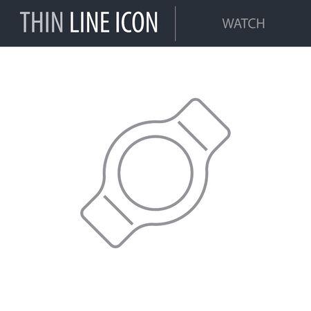 Symbol of Watch. Thin line Icon of Multimedia. Stroke Pictogram Graphic for Web Design. Quality Outline Vector Symbol Concept. Premium Mono Linear Beautiful Plain Laconic Logo Illustration