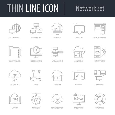 Icons Set of Network. Symbol of Intelligent Thin Line Image Pack. Stroke Pictogram Graphic for Web Design. Quality Outline Vector Symbol Concept Collection. Premium Mono Linear Ilustración de vector
