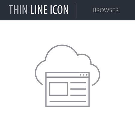 Symbol of Browser. Thin line Icon of Network. Stroke Pictogram Graphic for Web Design. Quality Outline Vector Symbol Concept. Premium Mono Linear Beautiful Plain Laconic Logo Ilustrace