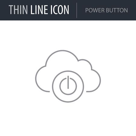 Symbol of Power Button. Thin line Icon of Network. Stroke Pictogram Graphic for Web Design. Quality Outline Vector Symbol Concept. Premium Mono Linear Beautiful Plain Laconic Logo Illustration