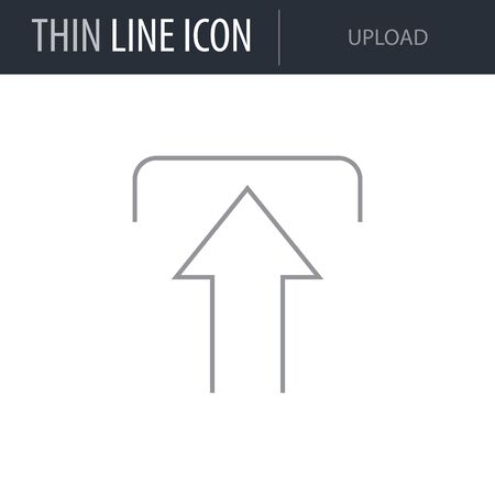 Symbol of Upload. Thin line Icon of Multimedia. Stroke Pictogram Graphic for Web Design. Quality Vector Symbol Concept. Premium Mono Linear Beautiful Plain Laconic Logo