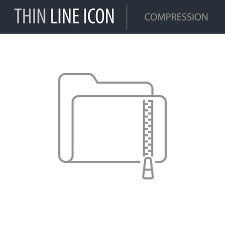 Symbol of Compression. Thin line Icon of Network. Stroke Pictogram Graphic for Web Design. Quality Outline Vector Symbol Concept. Premium Mono Linear Beautiful Plain Laconic Logo Illustration