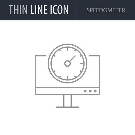 Symbol of Speedometer. Thin line Icon of Network. Stroke Pictogram Graphic for Web Design. Quality Outline Vector Symbol Concept. Premium Mono Linear Beautiful Plain Laconic Logo Illustration