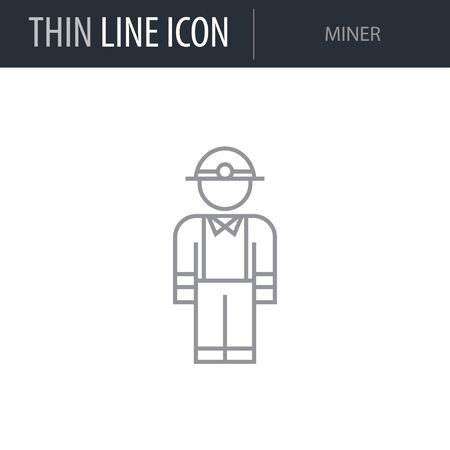 Symbol of Miner. Thin line Icon of Professions. Stroke Pictogram Graphic for Web Design. Quality Outline Vector Symbol Concept. Premium Mono Linear Beautiful Plain Laconic Logo Illusztráció
