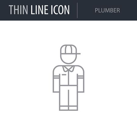 Symbol of Plumber. Thin line Icon of Professions. Stroke Pictogram Graphic for Web Design. Quality Outline Vector Symbol Concept. Premium Mono Linear Beautiful Plain Laconic Logo