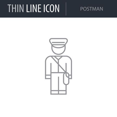 Symbol of Postman. Thin line Icon of Professions. Stroke Pictogram Graphic for Web Design. Quality Outline Vector Symbol Concept. Premium Mono Linear Beautiful Plain Laconic Logo