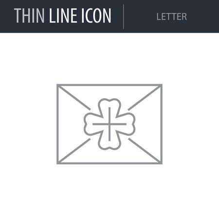 Symbol of Letter. Thin line Icon of Saint Patrick Day. Stroke Pictogram Graphic for Web Design. Quality Outline Vector Symbol Concept. Premium Mono Linear Beautiful Plain Laconic Logo