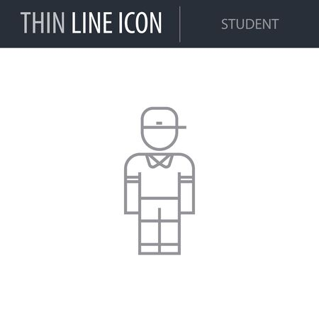 Symbol of Student. Thin line Icon of Professions. Stroke Pictogram Graphic for Web Design. Quality Outline Vector Symbol Concept. Premium Mono Linear Beautiful Plain Laconic Logo Illusztráció