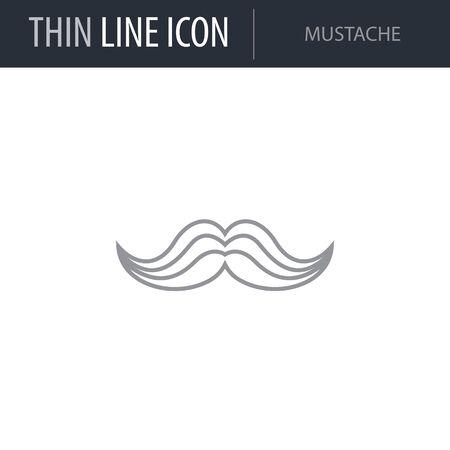 Symbol of Mustache. Thin line Icon of Saint Patrick Day. Stroke Pictogram Graphic for Web Design. Quality Outline Vector Symbol Concept. Premium Mono Linear Beautiful Plain Laconic Logo