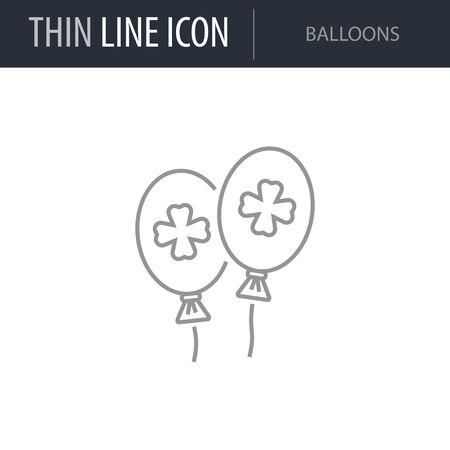 Symbol of Balloons. Thin line Icon of Saint Patrick Day. Stroke Pictogram Graphic for Web Design. Quality Outline Vector Symbol Concept. Premium Mono Linear Beautiful Plain Laconic Logo