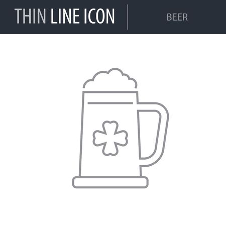 Symbol of Beer. Thin line Icon of Saint Patrick Day. Stroke Pictogram Graphic for Web Design. Quality Outline Vector Symbol Concept. Mono Linear Beautiful Plain Laconic Logo