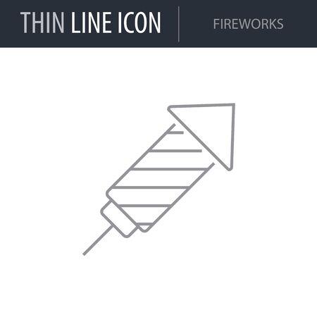 Symbol of Fireworks. Thin line Icon of Saint Patrick Day. Stroke Pictogram Graphic for Web Design. Quality Outline Vector Symbol Concept. Premium Mono Linear Beautiful Plain Laconic Logo Illustration