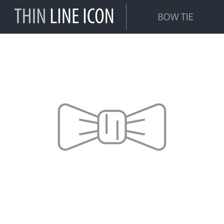 Symbol of Bow Tie. Thin line Icon of Saint Patrick Day. Stroke Pictogram Graphic for Web Design. Quality Outline Vector Symbol Concept. Premium Mono Linear Beautiful Plain Laconic Logo Illustration