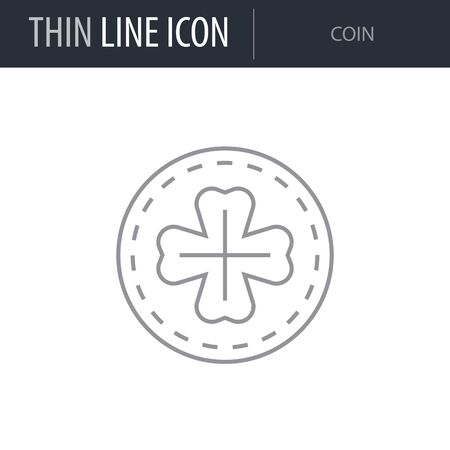Symbol of Coin. Thin line Icon of Saint Patrick Day. Stroke Pictogram Graphic for Web Design. Quality Outline Vector Symbol Concept. Premium Mono Linear Beautiful Plain Laconic Logo Illustration