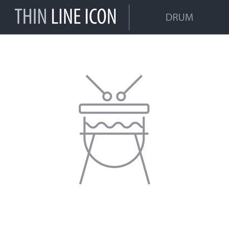 Symbol of Drum. Thin line Icon of Saint Patrick Day. Stroke Pictogram Graphic for Web Design. Quality Outline Vector Symbol Concept. Premium Mono Linear Beautiful Plain Laconic Logo Illustration