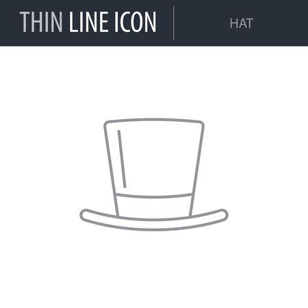 Symbol of Hat. Thin line Icon of Saint Patrick Day. Stroke Pictogram Graphic for Web Design. Quality Outline Vector Symbol Concept. Premium Mono Linear Beautiful Plain Laconic Logo Illustration