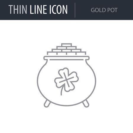 Symbol of Gold Pot. Thin line Icon of Saint Patrick Day. Stroke Pictogram Graphic for Web Design. Quality Outline Vector Symbol Concept. Premium Mono Linear Beautiful Plain Laconic Logo