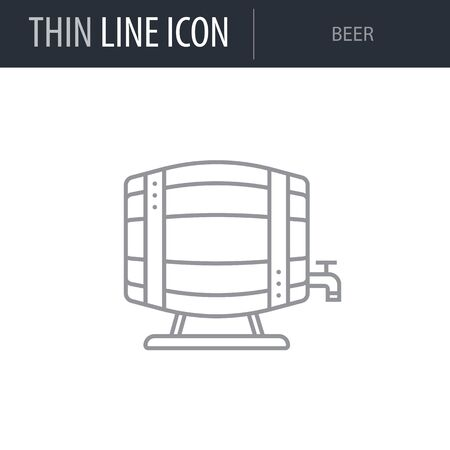 Symbol of Beer. Thin line Icon of Saint Patrick Day. Stroke Pictogram Graphic for Web Design. Quality Outline Vector Symbol Concept. Premium Linear Beautiful Plain Laconic Logo Illustration