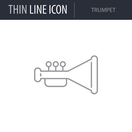 Symbol of Trumpet. Thin line Icon of Saint Patrick Day. Stroke Pictogram Graphic for Web Design. Quality Outline Vector Symbol Concept. Premium Mono Linear Beautiful Plain Laconic Logo