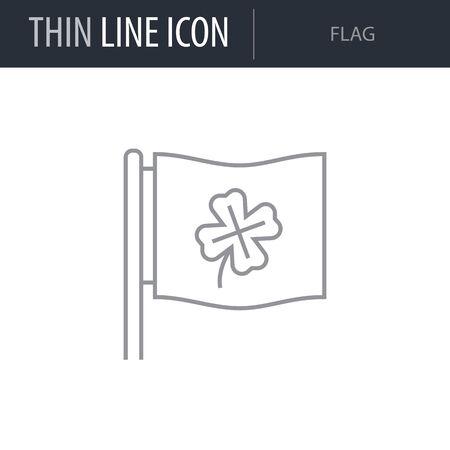 Symbol of Flag. Thin line Icon of Saint Patrick Day. Stroke Pictogram Graphic for Web Design. Quality Outline Vector Symbol Concept. Premium Mono Linear Beautiful Logo