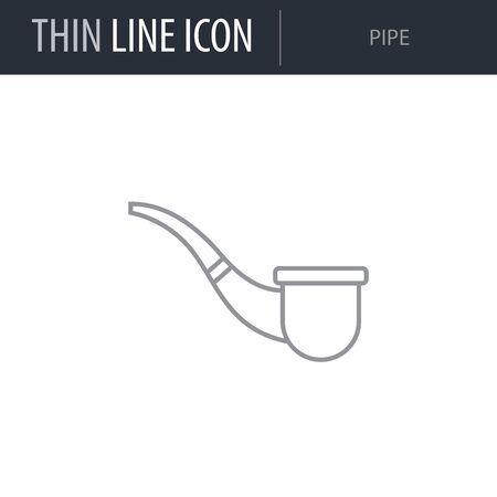 Symbol of Pipe. Thin line Icon of Saint Patrick Day. Stroke Pictogram Graphic for Web Design. Quality Outline Vector Symbol Concept. Premium Mono Linear Beautiful Plain Laconic Logo