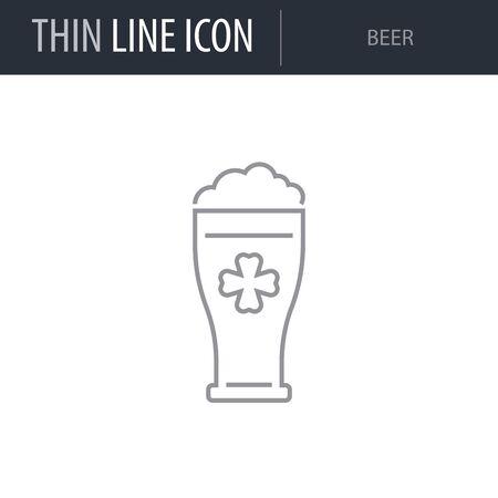 Symbol of Beer. Thin line Icon of Saint Patrick Day. Stroke Pictogram Graphic for Web Design. Quality Outline Vector Symbol Concept. Premium Mono Linear Plain Laconic Logo Illustration