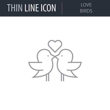 Symbol of Love Birds. Thin line Icon of Saint Valentin Lineal. Stroke Pictogram Graphic for Web Design. Quality Outline Vector Symbol Concept. Premium Mono Linear Beautiful Plain Laconic Logo