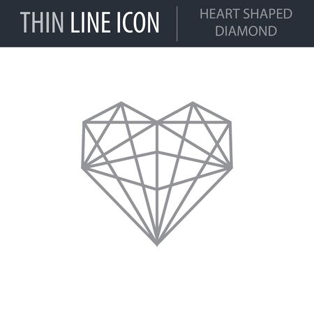 Symbol of Heart Shaped Diamond. Thin line Icon of Saint Valentin Lineal. Stroke Pictogram Graphic for Web Design. Quality Outline Vector Symbol Concept. Premium Mono Linear Beautiful Plain