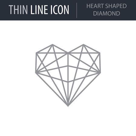 Symbol of Heart Shaped Diamond. Thin line Icon of Saint Valentin Lineal. Stroke Pictogram Graphic for Web Design. Quality Outline Vector Symbol Concept. Premium Mono Linear Beautiful Plain