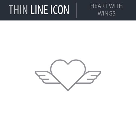 Symbol of Heart With Wings. Thin line Icon of Saint Valentin Lineal. Stroke Pictogram Graphic for Web Design. Quality Outline Vector Symbol Concept. Premium Mono Linear Beautiful Plain