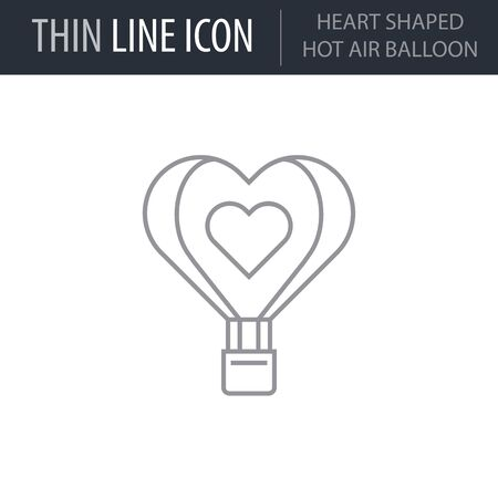 Symbol of Heart Shaped Hot Air Balloon. Thin line Icon of Saint Valentin Lineal. Stroke Pictogram Graphic for Web Design. Quality Outline Vector Symbol Concept. Premium Mono Linear Beautiful