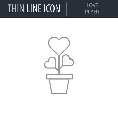 Symbol of Love Plant. Thin line Icon of Saint Valentin Lineal. Stroke Pictogram Graphic for Web Design. Quality Outline Vector Symbol Concept. Premium Mono Linear Beautiful Plain Laconic Logo Ilustração