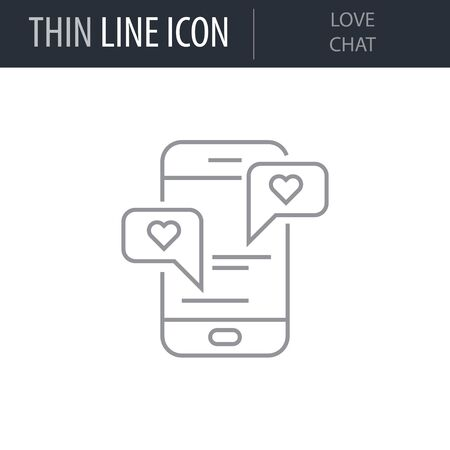 Symbol of Love Chat. Thin line Icon of Saint Valentin Lineal. Stroke Pictogram Graphic for Web Design. Quality Outline Vector Symbol Concept. Premium Mono Linear Beautiful Plain Laconic Logo Illustration