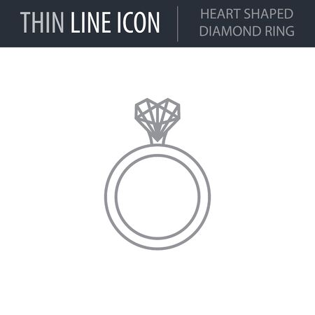 Symbol of Heart Shaped Diamond Ring. Thin line Icon of Saint Valentin Lineal. Stroke Pictogram Graphic for Web Design. Quality Outline Vector Symbol Concept. Premium Mono Linear Beautiful