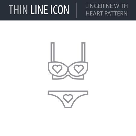 Symbol of Lingerine With Heart Pattern. Thin line Icon of Saint Valentin Lineal. Stroke Pictogram Graphic for Web Design. Quality Outline Vector Symbol Concept. Premium Mono Linear Beautiful