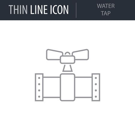 Symbol of Water Tap. Thin line Icon of Sanitary Engineering. Stroke Pictogram Graphic for Web Design. Quality Outline Vector Symbol Concept. Premium Mono Beautiful Plain Laconic Logo