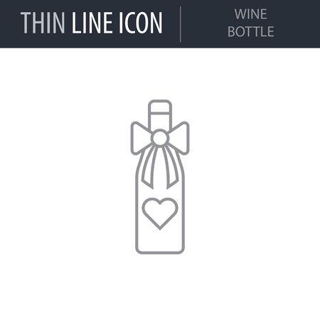 Symbol of Wine Bottle. Thin line Icon of Saint Valentin Lineal. Stroke Pictogram Graphic for Web Design. Quality Outline Vector Symbol Concept. Premium Mono Linear Beautiful Plain Laconic Ilustração