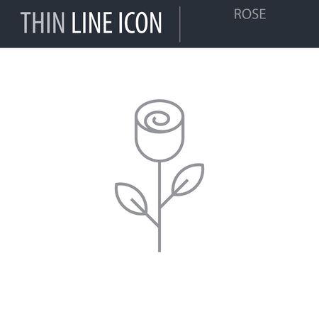 Symbol of Rose. Thin line Icon of Saint Valentin Lineal. Stroke Pictogram Graphic for Web Design. Quality Outline Vector Symbol Concept. Premium Mono Linear Beautiful Plain Laconic Logo Ilustração