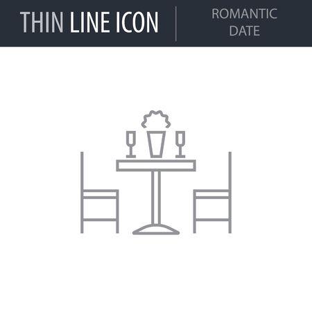Symbol of Romantic Date. Thin line Icon of Saint Valentin Lineal. Stroke Pictogram Graphic for Web Design. Quality Outline Vector Symbol Concept. Premium Mono Linear Beautiful Plain Laconic